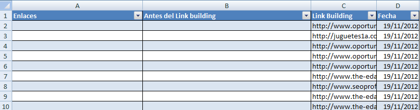 Excel ¿Está tu campaña de Link Building funcionando? Demuéstraselo a tu cliente