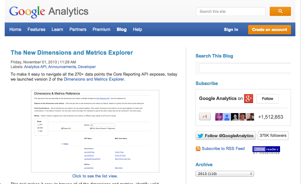 Blog de Google Analytics