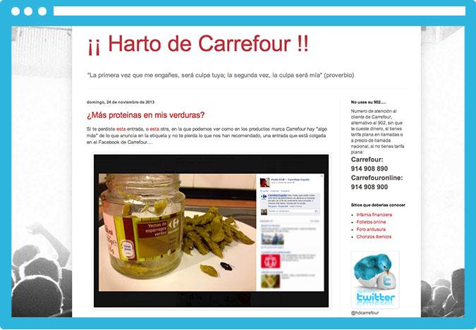"""Por ejemplo, """"Harto de Carrefour"""" tiene muchos links hacia la página del supermercado, pero es un beneficio despreciable comparado al daño que hace a la marca."""