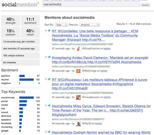 SocialMention1 20 herramientas donde monitorizar un hashtag