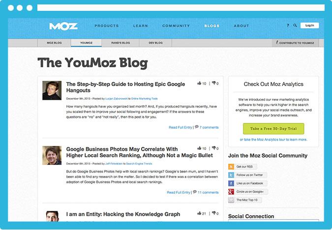 YouMoz es un blog de MOZ pensado para los mejores posts de su comunidad. Una forma excelente de darte a conocer y obtener algún link de calidad.