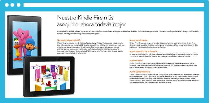 Amazon hace un trabajo excelente destacando las ventajas del Amazon Kindle.