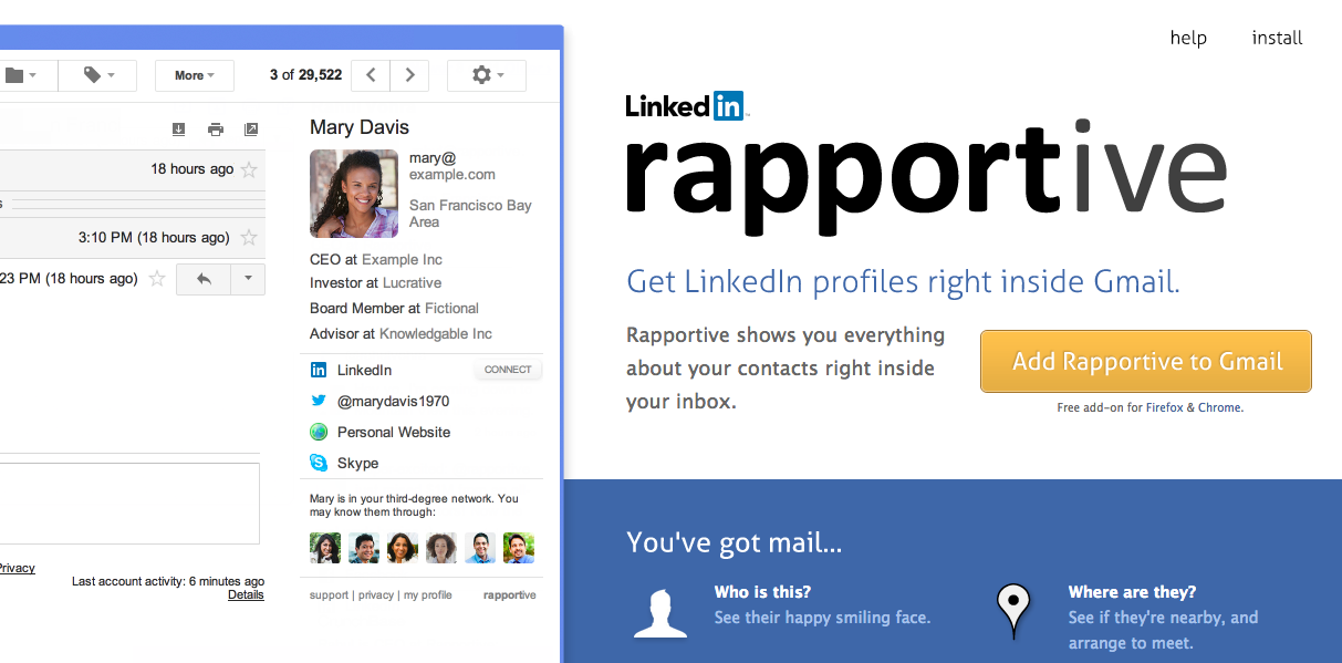 rapportive 3 herramientas para gestionar tu perfil de LinkedIn