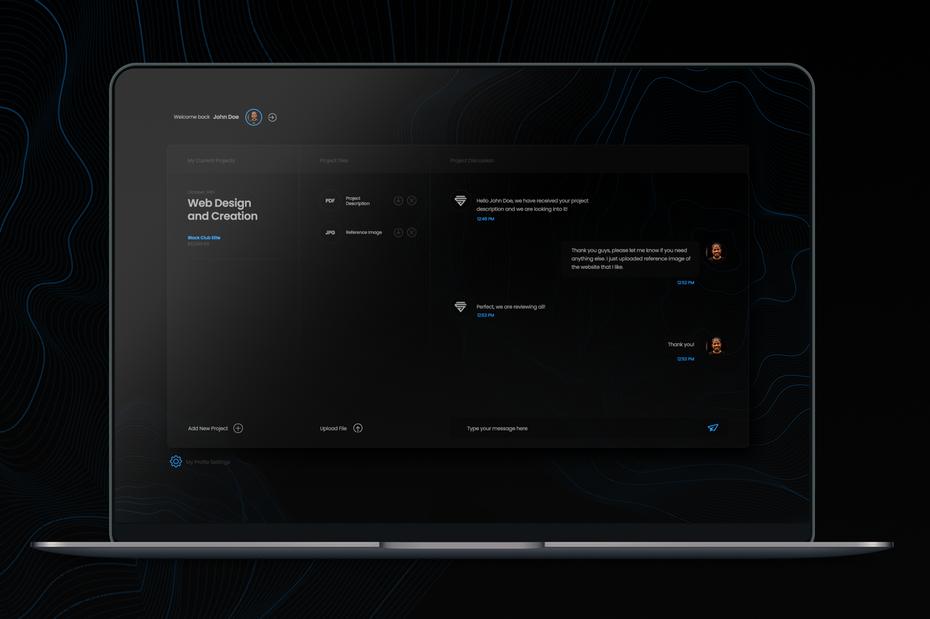 Trends in Web Design dark mode example